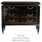 A Louis XVI Style Black Lacquered Commode with Brass Handles and Caps, France c. 1950
