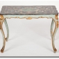 Italian Rococo Scagliola Table Top on Painted and Gilded Base James Sansum Inc. Fine and Decorative Art