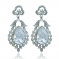 bridal-silver-tone-leaf-teardrop-austrian-crystal-dangle-earrings