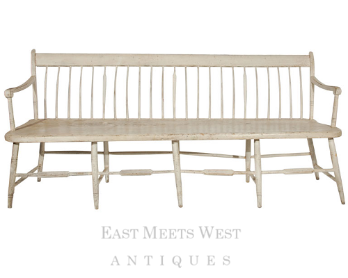 Early 19th Century Original Painted Windsor Settle Bench- East Meets West Antiques