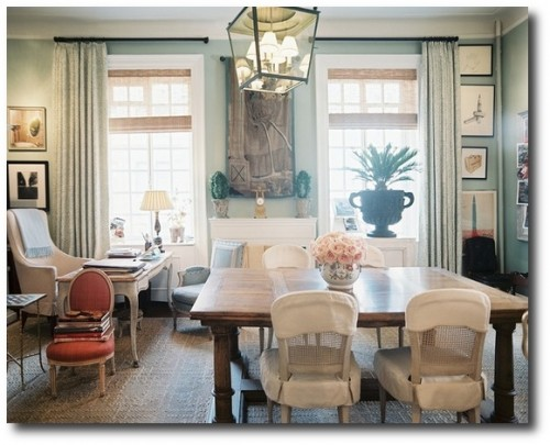 French Dining Room Chairs With Slipcovered Seats and Backs - lonny