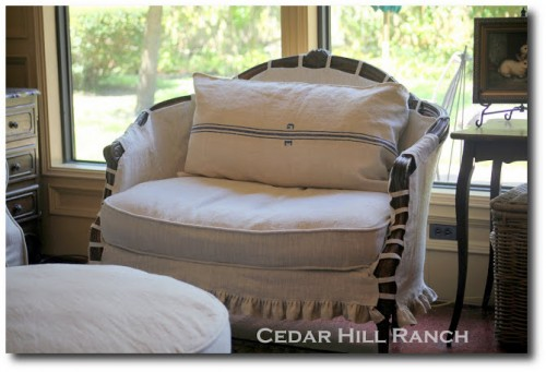 Slipcovers made from French Linen by Anita -Cedar Hill Ranch Blog