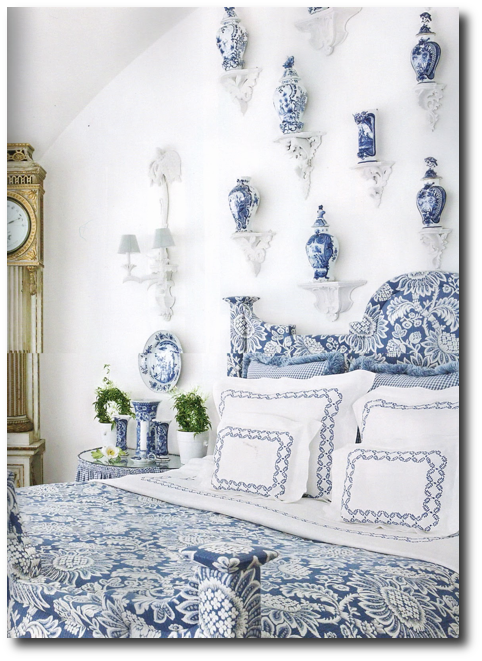 Carolyne Roehm From A Passion For Blue and White, Decorating With China, Decorating With Plates, Plate Displays, Sconces