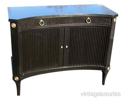 Ebonized Tambour Front Commode $2495, Keywords:Directoire Style Furniture, Jansen Style Furniture, French Louis XVI furniture, French Furniture, Antique French Furniture, Maison Jansen