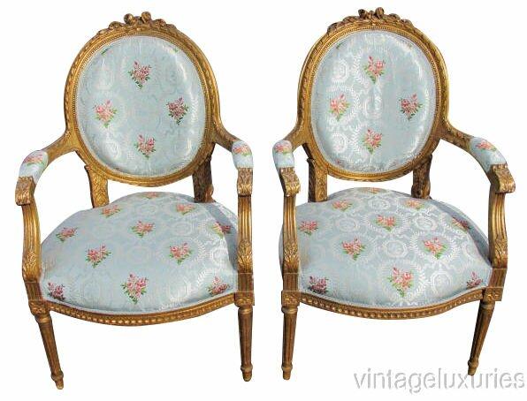 Exceptional Louis XVI Style Parcel Gilt Fauteuils Armchairs,  Keywords:Directoire Style Furniture, Jansen