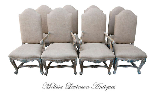 French Painted & Bulap Dining Chairs, Rachel Ashwell, White Decorating, Shabby Chic Decorating, Distressed Furniture, Cottage Style, Flea Markets