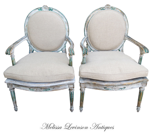 Melissa Levinson Antiques. Italian Painted Armchairs, Rachel Ashwell, White Decorating, Shabby Chic Decorating, Distressed Furniture, Cottage Style, Flea Markets