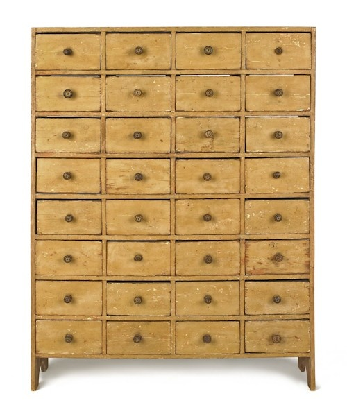 Painted pine apothecary cupboard, early 19th c.