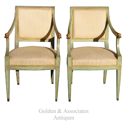 Pair-of-Regency-Italian-Painted-and-Gilt-Dolphin-Arm-Chairs