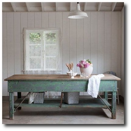 Rachel Ashwell Shabby Chic Couture - Green Work Table, Rachel Ashwell, White Decorating, Shabby Chic Decorating, Distressed Furniture, Cottage Style, Flea Markets