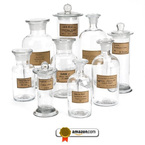 Two's Company Botany Apothecary Jars with Antiqued Labels, Set of 9
