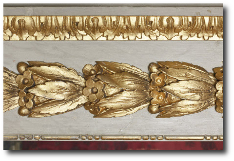 Close view of the gilded moulding in the Queen's Bedchamber at Ham House, Richmond-upon-Thames, Surrey. The Frame Blog