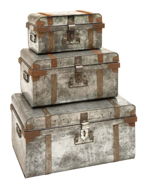 Galvanized Trunk with Rivets and Metal Strips - Set of 3