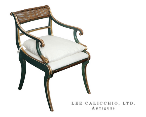 19th Century green painted & giltwood open arm chair -