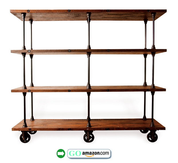 Allenby Industrial Reclaimed Wood 4 Shelf Rolling Bookcase $4K On Amazon