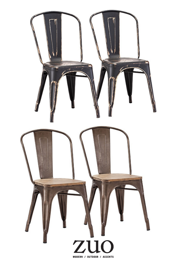 ZUO Elio Dining Chair, Antique Black Gold, Set of 2 $158 On Amazon