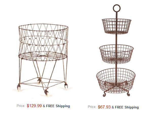 Vintage Reproduction Collapsible Rolling Metal Laundry Basket $129 Amazon