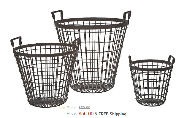Co-Op Decorative Iron Basket Set, Black $56 On Amazon