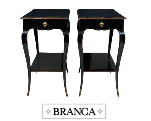 A Pair of Louis XV Style Black Lacquered and Parcel-Gilt Side Tables