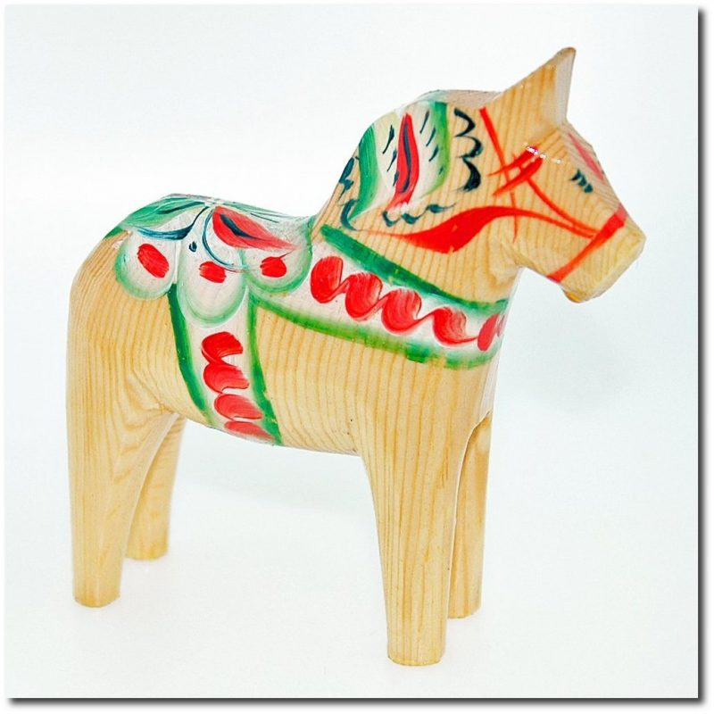 Swedish Wooden Dala Horse - Natural