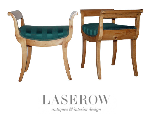 A pair of beautiful Karl Johan stools made in Birch