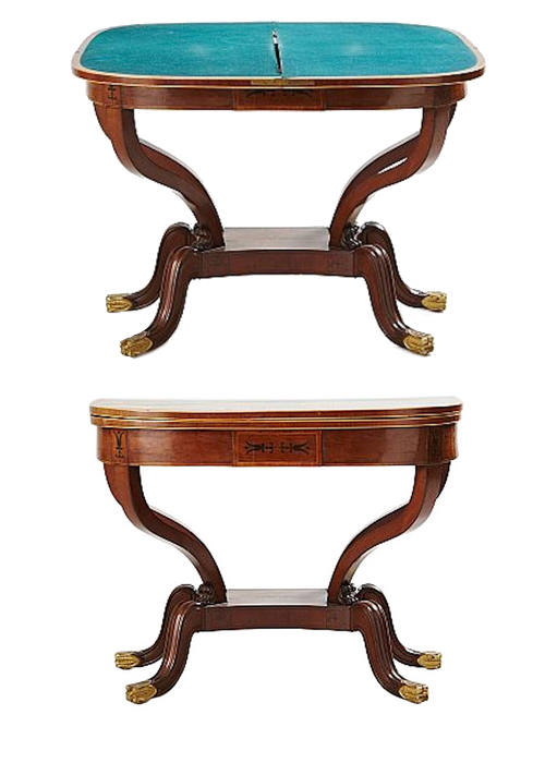 An empire game table from France made during the Empire Period ca 1800