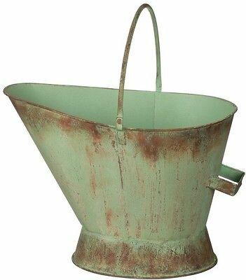 Distressed Metal Green Fireplace Bucket