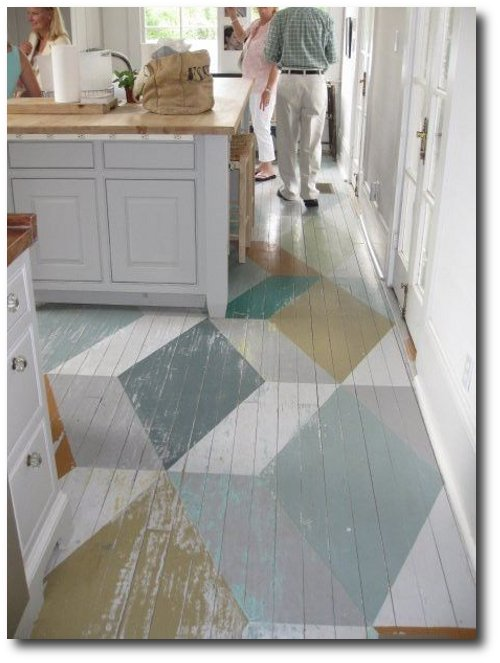 Geometric, color block painted floor