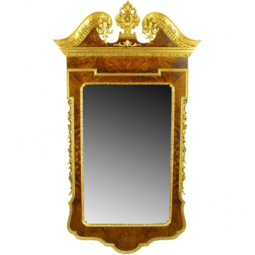 Neoclassical Italian Burled Walnut & Parcel Gilt Mirror Seller Assemblage