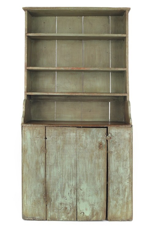 New England painted pine two-part pewter cupboard, early 19th c.