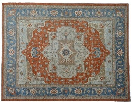Oriental Rug, Zero Pile 8'X10' Fine Serapi Hand Knotted Wool Rug