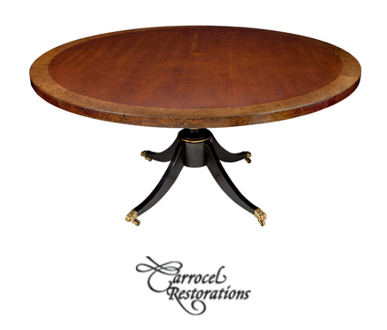 Round Cherry Top Burled Maple Duncan Phyfe Pedestal Dining Table