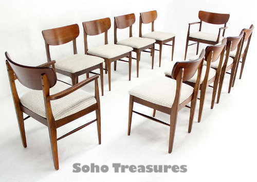 Set of Ten Walnut Dining Chairs Danish Mid Century Modern