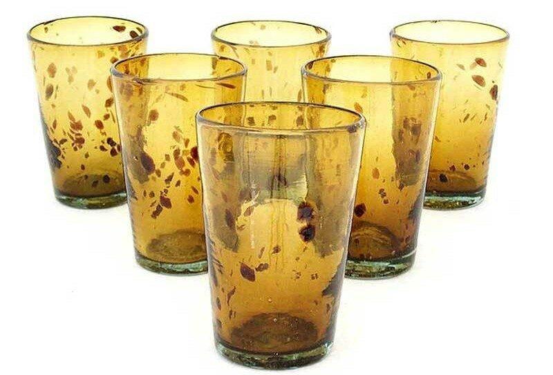 tortoise shell set of 6 hand blown drinking glasses