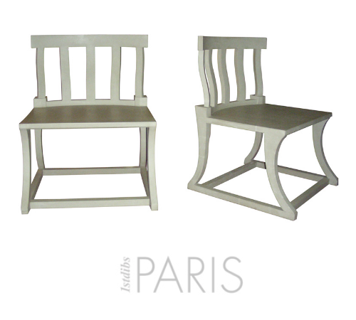 Two chairs, neo-Greek, inspired by the style of the Villa Kerylos of the end of 19th beginning 20th style. Gray patina wood.