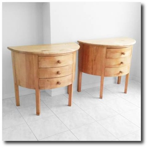 2 vintage hand crafted solid knotty pine side tables - $199