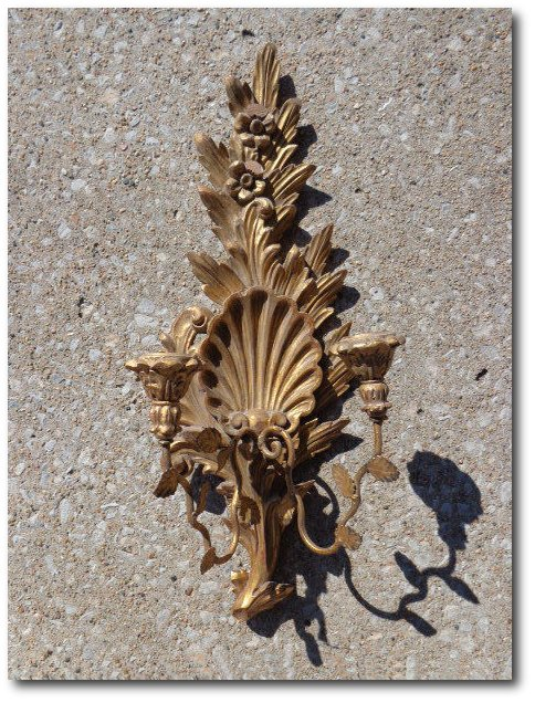 ANTIQUE OLD ROCOCO HAND CARVED GOLD GILT WOOD FLORENTINE CANDELABRA WALL SCONCE
