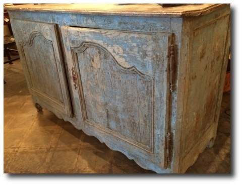 Louis XV buffet with key from a chateau in the Loire Valley in France, blue paint believed to be original, available for $5,200. Seen At Brocante French Antiques