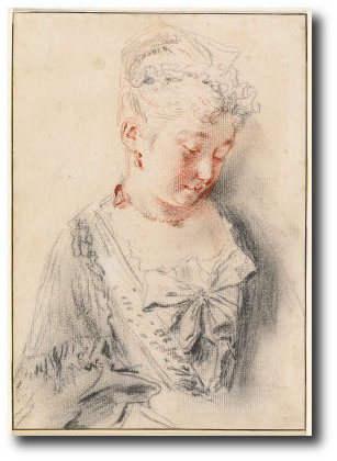 Seated Woman Looking Down, Oil by Jean Antoine Watteau (1684-1721, France)