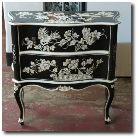 french style chinoiserie hand painted 2 drawer cabinet - $350 (3115 W Irving Park Rd.)