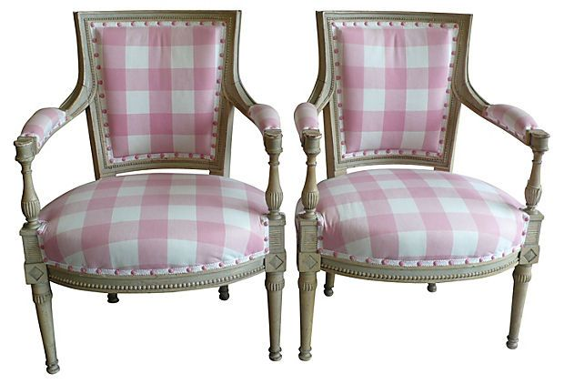 19th C. French Chairs, Pair On OneKingsLane Scalamandre Check