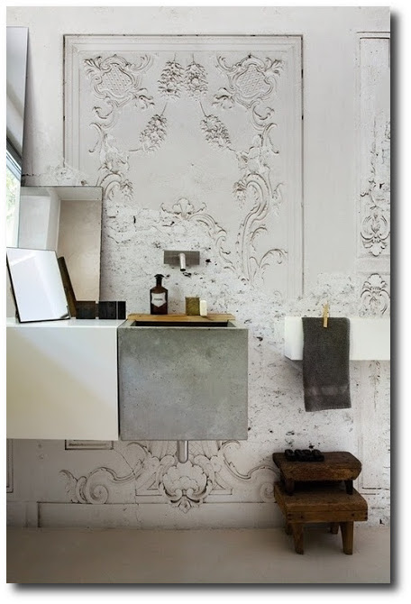Architectural White Wall Using Plaster Detail Flourishes