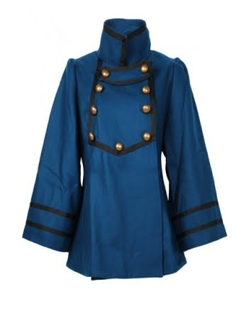 Dahlia Petrol Blue Military Coat