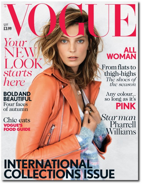 Daria Werbowy on the September cover of Vogue UK, sporting a coral-hued jacket
