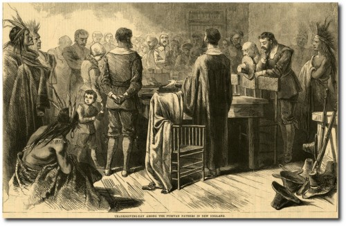 """Thanksgiving day Among the Puritan Fathers in New England"" Harper's Weekly, 1870. Courtesy the New York Historical Society."