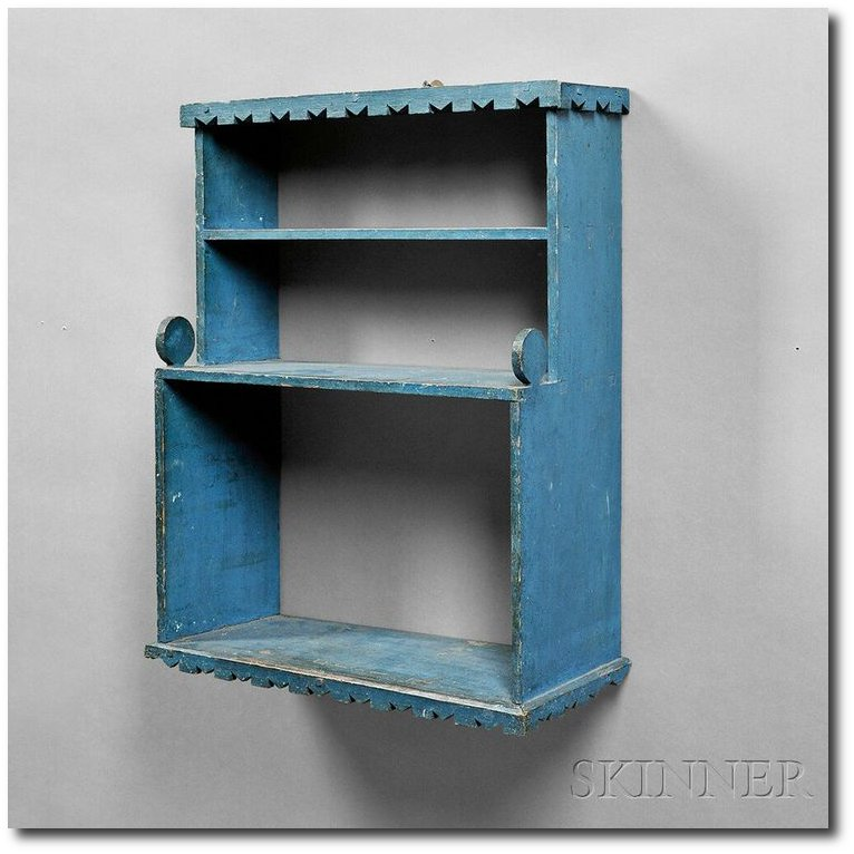 Blue-painted Wall Shelf From Skinner Auctions