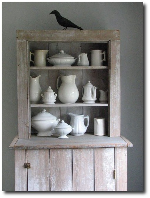 Ironstone Displayed In A Primitive Cabinet - Terry John Woods