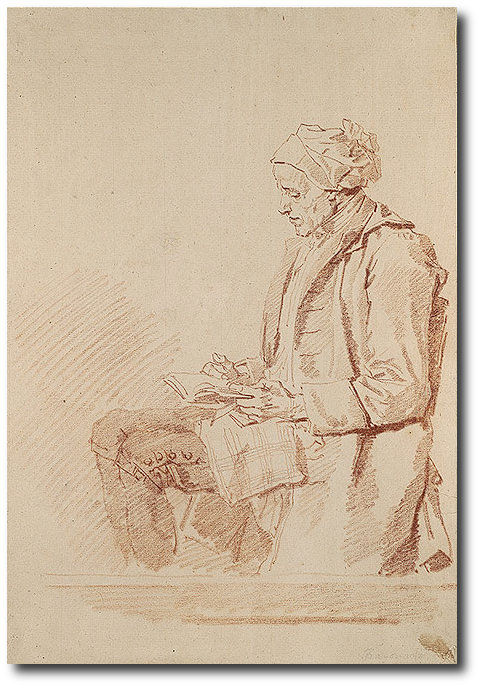 Seated Man Reading - Jean-Honore Fragonard