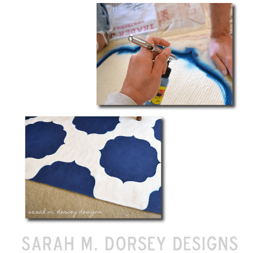 DIY Painted Stenciled floor rugs