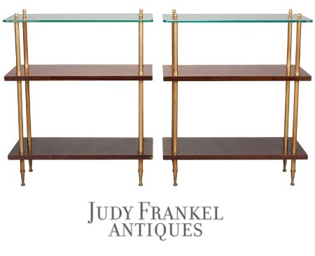 Pair-Mid-Century-Wood-and-Glass-Three-Tier-Side-Tables.